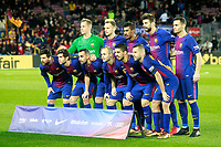FC Barcelona's team photo with Marc-Andre Ter Stegen, Ivan Rakitic, Paulinho, Gerard Pique, Thomas Vermaelen, Leo Messi, Sergi Roberto, Paco Alcacer, Andres Iniesta, Luis Suarez and Jordi Alba during La Liga match. December 17,2016. (ALTERPHOTOS/Acero)