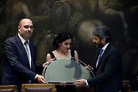 Roma, 19 Luglio 2018<br /> Marco Di Fonzo, Raha Vismeh, Roberto Fico<br /> Camera dei Deputati, Cerimonia del Ventaglio.