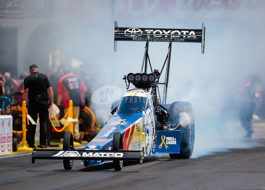 May 5, 2019; Commerce, GA, USA; NHRA top fuel driver Antron Brown during the Southern Nationals at Atlanta Dragway. Mandatory Credit: Mark J. Rebilas-USA TODAY Sports
