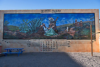 Mural two in Alpine Texas showing the heritage of the town in far west texas.
