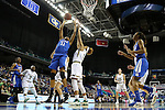 04 March 2016: Duke's Azura Stevens (left) shoots over Notre Dame's Brianna Turner (right). The Duke University Blue Devils played the University of University of Notre Dame Fighting Irish at the Greensboro Coliseum in Greensboro, North Carolina in an Atlantic Coast Conference Women's Basketball Tournament Quarterfinal and a 2015-16 NCAA Division I Women's Basketball game. Notre Dame won the game 83-54.