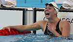 Stephanie Dixon of Victoria, B.C. was happy with her time and the silver medal in women's 200 metre individual medley, class SM9, in the swimming finals at the Paralympic Games in Beijing, Thursday, Sept., 11, 2008.  Photo by Mike Ridewood/CPC