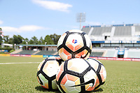 Cary, North Carolina  - Saturday June 03, 2017: NWSL soccer balls prior to a regular season National Women's Soccer League (NWSL) match between the North Carolina Courage and the FC Kansas City at Sahlen's Stadium at WakeMed Soccer Park. The Courage won the game 2-0.