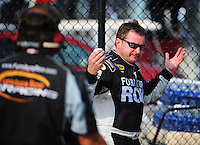 Sept. 26, 2008; Kansas City, KS, USA; Nascar Sprint Cup Series driver Joe Nemechek reacts following his run during qualifying for the Camping World RV 400 at Kansas Speedway. Mandatory Credit: Mark J. Rebilas-