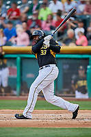 Chris Carter (33) of the Salt Lake Bees bats against the Sacramento River Cats at Smith's Ballpark on May 17, 2018 in Salt Lake City, Utah. Salt Lake defeated Sacramento 12-11. (Stephen Smith/Four Seam Images)