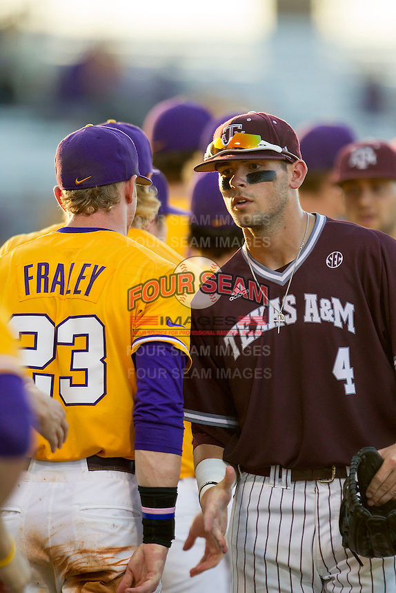 Texas A&M Aggies outfielder Nick Banks (4) following the Southeastern Conference baseball game against the LSU Tigers on April 25, 2015 at Alex Box Stadium in Baton Rouge, Louisiana. Texas A&M defeated LSU 6-2. (Andrew Woolley/Four Seam Images)