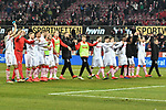 08.02.2019, Rheinenergiestadion, Köln, GER, DFL, 2. BL, VfL 1. FC Koeln vs FC St. Pauli, DFL regulations prohibit any use of photographs as image sequences and/or quasi-video<br /> <br /> im Bild Schlussjubel / Schlußjubel / Emotion / Freude / die Mannschaft von Koeln vor Fankurve / Fans / Fanblock / <br /> <br /> Foto © nph/Mauelshagen