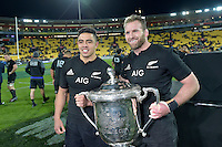 All Blacks' Kieran Read and Anton Lienert-Brown. All Blacks v Wallabies. The Rugby Championship &amp; Bledisloe Cup at Westpac Stadium, Wellington, New Zealand on Saturday 27 August 2016.<br /> Photo by Masanori Udagawa. <br /> www.photowellington.photoshelter.com.