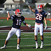 Mike Manfredo #16, left, and Tom Evans #26 of MacArthur react after a fumble recovered by the Generals gave the ball back to their team in a Nassau County Conference II varsity football game against host Mepham High School on Saturday, Sept. 9, 2017. Mepham won by a score of 35-34.