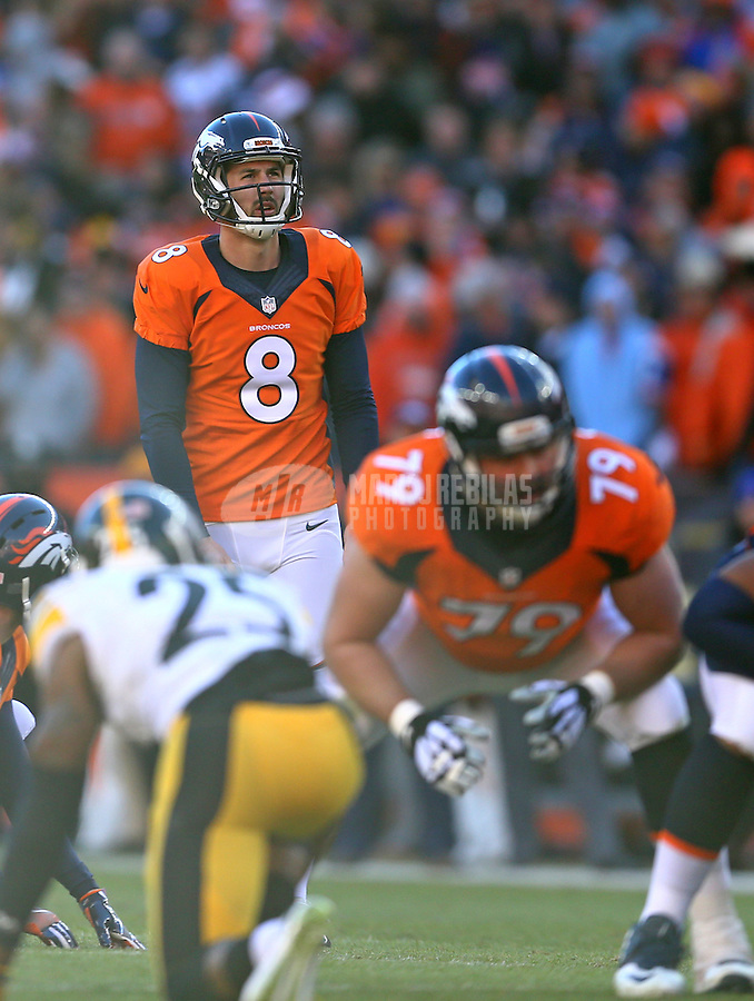 Jan 17, 2016; Denver, CO, USA; Denver Broncos kicker Brandon McManus (8) against the Pittsburgh Steelers during the AFC Divisional round playoff game at Sports Authority Field at Mile High. Mandatory Credit: Mark J. Rebilas-USA TODAY Sports
