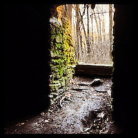 The sun shines on the mossy stone wall at the entrance of the Kelpius Cave in the Wissahickon Valley Park, January 20, 2013. Johannes Kelpius used this cave as a shelter and place of meditation in the 1690s.