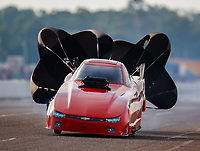 Aug 18, 2017; Brainerd, MN, USA; NHRA top alcohol funny car driver XXXX during qualifying for the Lucas Oil Nationals at Brainerd International Raceway. Mandatory Credit: Mark J. Rebilas-USA TODAY Sports