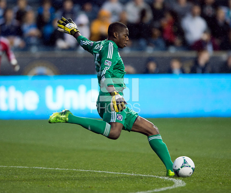 Sean Johnson (25) of the Chicago Fire puts the ball into play during a Major League Soccer match at PPL Park in Chester, PA.  Philadelphia defeated Chicago, 1-0.