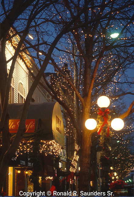 Street side with Christmas ornaments