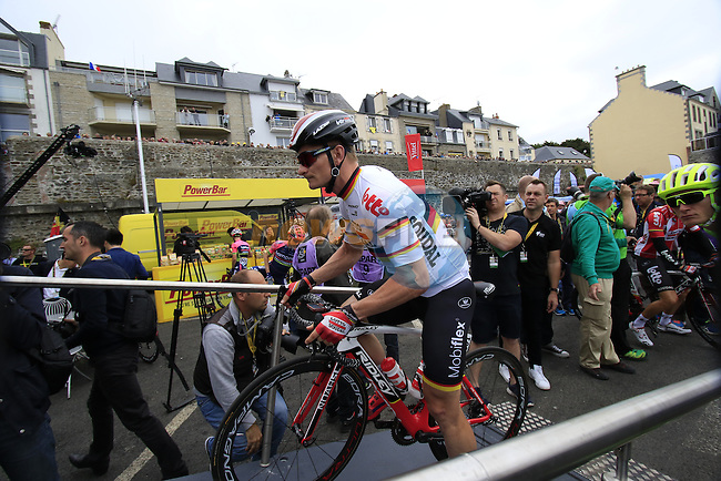 Andre Greipel (GER) Lotto Soudal at sign on before the start of Stage 3 of the 2016 Tour de France, running 223.5km from Granville to Angers, France . 4th July 2016.<br /> Picture: Eoin Clarke | Newsfile<br /> <br /> <br /> All photos usage must carry mandatory copyright credit (&copy; Newsfile | Eoin Clarke)