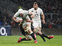 Photo: Richard Lane/Richard Lane Photography. England v New Zealand. QBE Autumn International. 08/11/2014. England's Dave Attwood attacks.