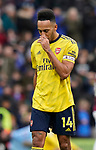 Pierre-Emerick Aubameyang of Arsenal dejected during the Premier League match at Turf Moor, Burnley. Picture date: 2nd February 2020. Picture credit should read: Andrew Yates/Sportimage