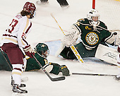 Andie Anastos (BC - 23), Gina Repaci (UVM - 13), Roxanne Douville (UVM - 34) - The Boston College Eagles defeated the visiting University of Vermont Catamounts 2-0 on Saturday, January 18, 2014, at Kelley Rink in Conte Forum in Chestnut Hill, Massachusetts.