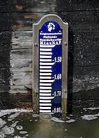 Schermerhorn. N.A.P. meter geeft de hoogte van de waterstand aan. NAP is de afkorting voor Normaal Amsterdams Peil