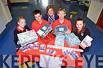 Transition Year students from Mean Scoil an Leith Triuigh, Castlegregory are calling on locals to help support their Shoebox Appeal which will see thousands of children receive presents this Christmas. Pictured l-r were: Ellen O'Mahony, Ross Spillane Edel O'Connor (teacher), Finn Mellon and Katie Raftery.