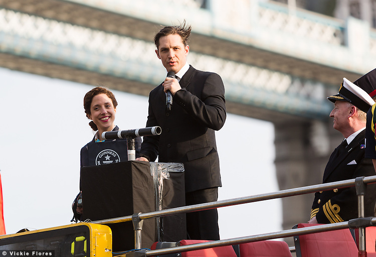 British actor, Tom Hardy officially launches The Royal Marines Corps of Drums world record attempt outside the Tower of London. The Royal Marines Corps of Drums are attempting to break the World record for the longest continuous drum roll as part of a year of celebrations to mark the 350th anniversary of the Royal Marines and raising money for the Royal Marines Charitable Trust Fund. The current record stands at 28 hours, 19 minutes and 3 seconds and they hope to extend this to 64 hours.