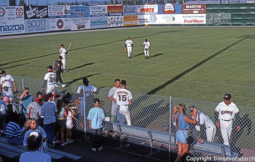 Ballparks: Everett, WA. Ballpark, players and groupies.