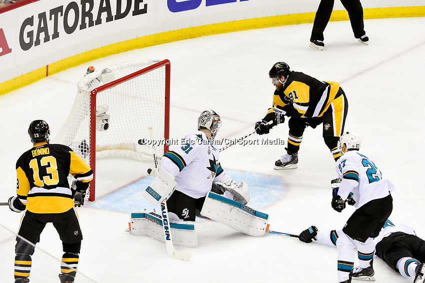 Wednesday, June 1, 2016: Pittsburgh Penguins right wing Phil Kessel (81) scores against San Jose Sharks goalie Martin Jones (31) in the second period of game 2 of the NHL Stanley Cup Finals  between the San Jose Sharks and the Pittsburgh Penguins held at the CONSOL Energy Center in Pittsburgh Pennsylvania. Eric Canha/CSM