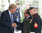 United States President Donald J. Trump welcomes President Abdel Fattah Al Sisi of Egypt to the White House for talks in Washington, DC on Monday, April 3, 2017.<br /> Credit: Ron Sachs / CNP