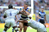Sam Burgess of Bath Rugby takes on the Saracens defence. Aviva Premiership Final, between Bath Rugby and Saracens on May 30, 2015 at Twickenham Stadium in London, England. Photo by: Patrick Khachfe / Onside Images