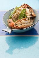 Europe/France/Bretagne/56/Morbihan/ Belle-Ile-en-Mer/Locmaria: Risotto printanier aux langoustine et pois gourmants recette de Marguerite Gabillet du restaurant Chouk'azé
