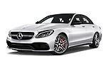 Stock pictures of low aggressive front three quarter view of 2017 Mercedes Benz C-Class AMG-C63-S 4 Door Sedan Low Aggressive