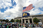Fans tailgate outside ND Stadium on an unseasonably cool sesason-opener day...Photo by Matt Cashore