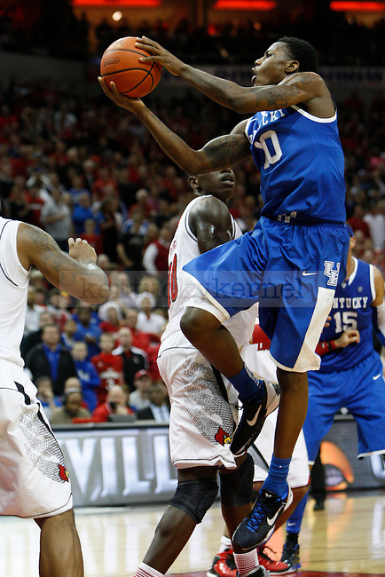 UK guard Archie Goodwin (10) jumps to shoot the ball during the second half of the UK Men's basketball game vs. University of Louisville at KFC Yum! Center in Louisville, Ky., on Saturday, December 29, 2012. U of L won 80-77. Photo by Tessa Lighty | Staff