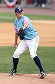 May 3, 2009:  Pitcher Eric Brown of the Binghamton Mets, Eastern League Class-AA affiliate of the New York Mets, delivers a pitch during a game at the NYSEG Stadium in Binghamton, NY.  The Mets wore special blue and pink jerseys that were auctioned off after the game to benefit breast and prostate cancer.  Photo by:  Mike Janes/Four Seam Images