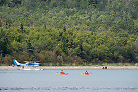 Tourists in kayaks view bears along the shore of Naknek Lake, Brooks Lodge, Katmai National Park, Alaska