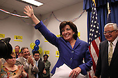 Kathy Hochul on stage after being declared the winner of a special election for the NY-26th at UAW Union Hall on May 24, 2011 in Amherst, New York.  Hochul defeated heavily favored Republican candidate Jane Corwin to give the Democrats a seat in the House of Representatives after former representative Christopher Lee resigned amidst a sex scandal.  Photo By Mike Janes/Four Seam Images