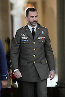 Prince Felipe of Spain attends military audiences.April 9, 2013.(ALTERPHOTOS/Acero)