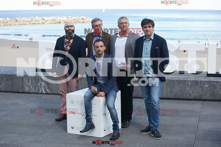 Movie director Alejandro Amenabar poses with his producers during `Regression´ film presentation at 63rd Donostia Zinemaldia (San Sebastian International Film Festival) in San Sebastian, Spain. September XX, 2015. (ALTERPHOTOS/Victor Blanco) /NortePhoto.com