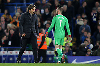 Chelsea Manager, Antonio Conte, celebrates at the final whistle during Chelsea vs Manchester United, Premier League Football at Stamford Bridge on 5th November 2017