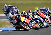 Nicky Hayden (USA) leads the pack around a corner.<br /> Motorcycles - MotoGP Phillip Island/ Round 15<br /> 2005 Australian Motorcycle Grand Prix<br /> Phillip Island, Victoria, Australia. Oct. 16, 2005<br /> &copy; Sport the library/Courtney Harris