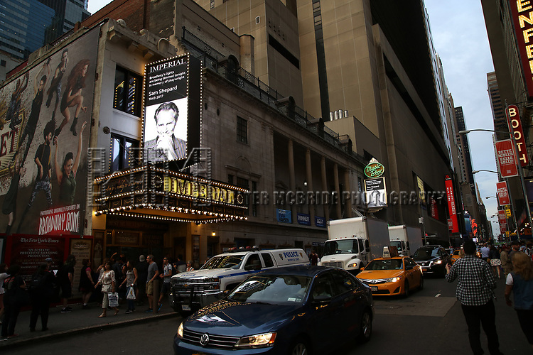 Broadway Dims The Lights In Memory Of Sam Shepard  at The Music Box Theatre and the Imperial Theatre on August 2, 2017 in New York City.