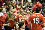 Berlin, Germany, January 31: Fans of Club an der Alster cheer for their team during the 1. Bundesliga Herren Hallensaison 2014/15 semi-final hockey match between Rot-Weiss Koeln (dark blue) and Club an der Alster (red) on January 31, 2015 at the Final Four tournament at Max-Schmeling-Halle in Berlin, Germany. Final score 4-3 (2-2). (Photo by Dirk Markgraf / www.265-images.com) *** Local caption ***
