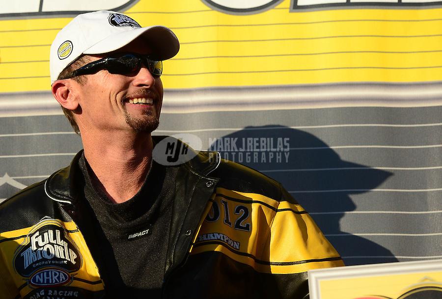 Nov. 11, 2012; Pomona, CA, USA: NHRA funny car driver Jack Beckman after clinching the 2012 championship during the Auto Club Finals at at Auto Club Raceway at Pomona. Mandatory Credit: Mark J. Rebilas-