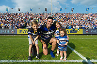 Matt Banahan of Bath Rugby poses for a photo with his kids after the match. Aviva Premiership match, between Bath Rugby and London Irish on May 5, 2018 at the Recreation Ground in Bath, England. Photo by: Patrick Khachfe / Onside Images