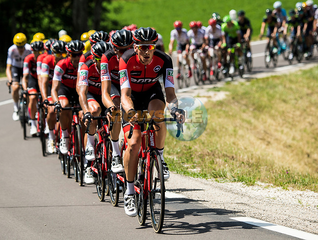 The peloton with BMC Racing Team on the front during Stage 5 of the 104th edition of the Tour de France 2017, running 160.5km from Vittel to La Planche des Belles Filles, France. 5th July 2017.<br /> Picture: ASO/Alex Broadway   Cyclefile<br /> <br /> <br /> All photos usage must carry mandatory copyright credit (&copy; Cyclefile   ASO/Alex Broadway)