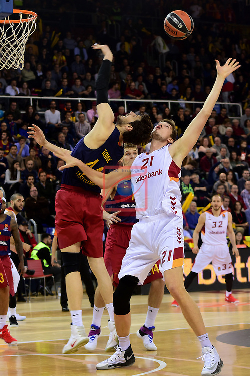 Turkish Airlines Euroleague 2016/2017.<br /> Regular Season - Round 22.<br /> FC Barcelona Lassa vs Galatasaray Odeabank Istanbul: 62-69.<br /> Ante Tomic vs Tibor Pleiss.
