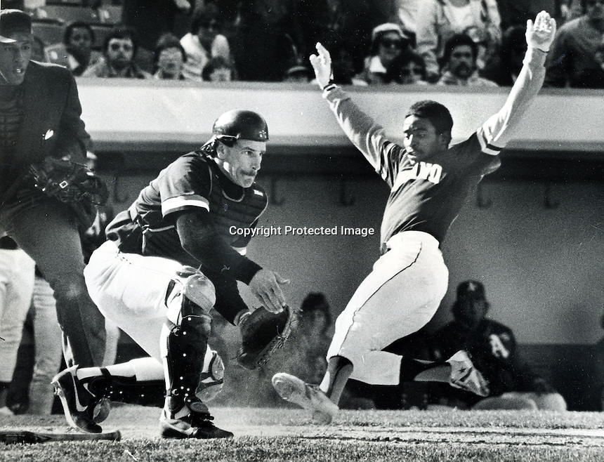 Oakland A's Tony Phillips slides safe into San Francisco Giants catcher Bob Brenly for the winning run. (1983 photo by Ron Riesterer)