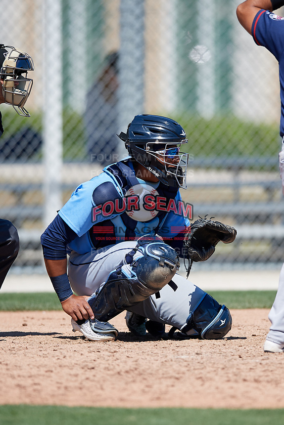 Tampa Bay Rays catcher Alexander Alvarez (80) during a Minor League Spring Training game against the Minnesota Twins on March 15, 2018 at CenturyLink Sports Complex in Fort Myers, Florida.  (Mike Janes/Four Seam Images)