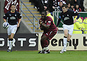 13/09/2008  Copyright Pic: James Stewart.File Name : sct_jspa14_falkirk_v_hearts.CHRISTIAN NADE GRIMACES AS HE'S HOT IN THE STOMACH BY DARREN BARR'S CLEARANCE....James Stewart Photo Agency 19 Carronlea Drive, Falkirk. FK2 8DN      Vat Reg No. 607 6932 25.James Stewart Photo Agency 19 Carronlea Drive, Falkirk. FK2 8DN      Vat Reg No. 607 6932 25.Studio      : +44 (0)1324 611191 .Mobile      : +44 (0)7721 416997.E-mail  :  jim@jspa.co.uk.If you require further information then contact Jim Stewart on any of the numbers above........