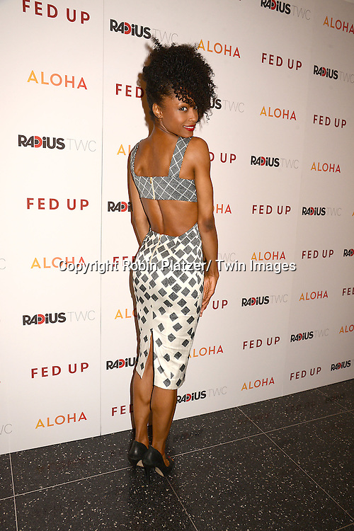 """Yaya DeCosta  attends the New York Premiere of """"FED UP"""" on May 6, 2014 at The Museum of Modern Art in New York City."""